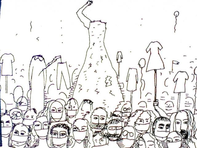 """Глюкля, """"Дебаты о разрыве: когда личное становится общественным"""", 2014, рисунок молчаливого шествия по Невскому проспекту, Cанкт-Петербург, © Глюкля (Наталья Першина-Якиманская)"""