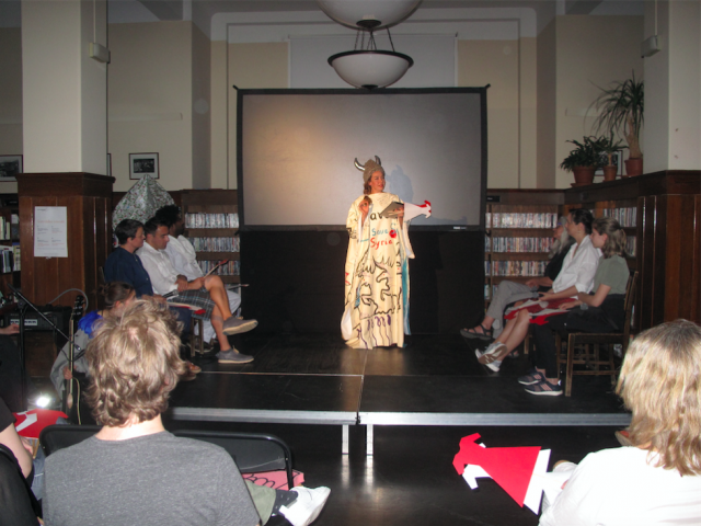 'Debats on Division' at Public library in Grünerløkka, Oslo with a show host  Helle Siljeholm and with jury on stage