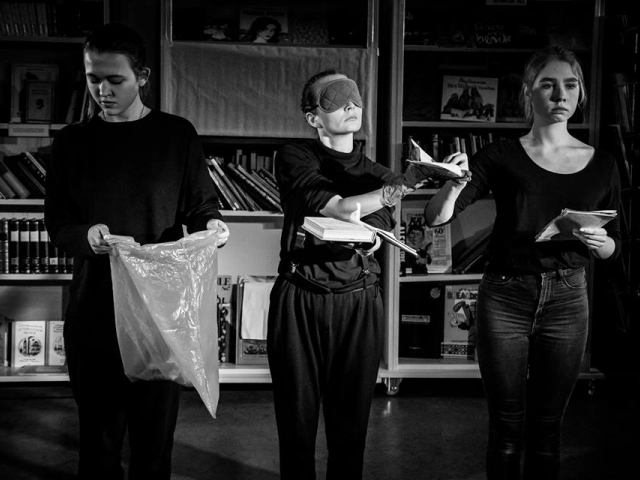 'Farenheit 451' performance directed by Theatr Livsmedlet (Ishmael Falke and Sandrina Lindgrend) in collaboration with young performers and youth club 'Art Raduga', November, 2016