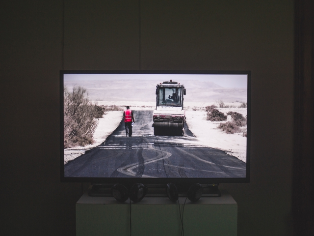 Nir Evron, Playing A role, 2013, video.  /De/Constructing Borders, installation view. Photo: Vlad Lemm