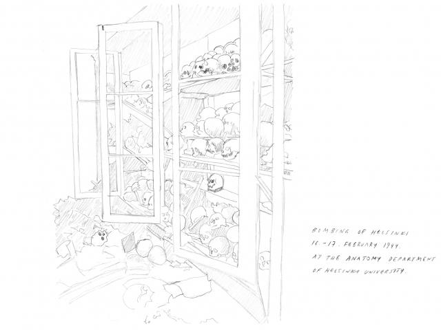 """Minna Henriksson, drawing copied from Marjatta Hietala, """"Tutkijat ja Saksan suunta"""" p. 123, in Tutkijat ja sota, ed. Marjatta Hietala, SKS, 2006"""
