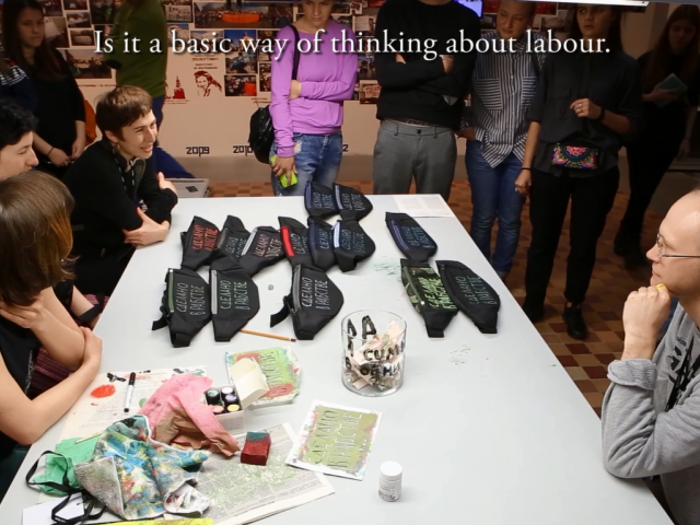 Shvemy sewing cooperative  (Mariia Lukianova, Antonina Melnyk, Olesya Panova, Anna Tereshkina) Russia/Ukraine, '12-Hour Working Day' (performance documentation) 27 min,  full HD, 2017, videostill