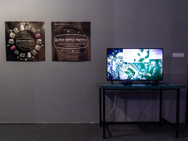 """Off to Space: Counternarrating the Cosmos"".  Curator: Maria Veits. Israeli Center for Digital Art, 2020. Installation view.  Photo: Shir Comay"